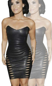Piercing Style Black Faux Leather Strapless V Neck Cut Out Slashed Bodycon Mini Dress - Inspired by Demi Lovato  Sold Out