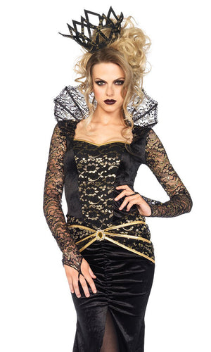 Queen Of The Castle Black Gold Sheer Lace Long Sleeve Ruffle Collar Sweetheart Neck Front Slit Maxi Dress Halloween Costume