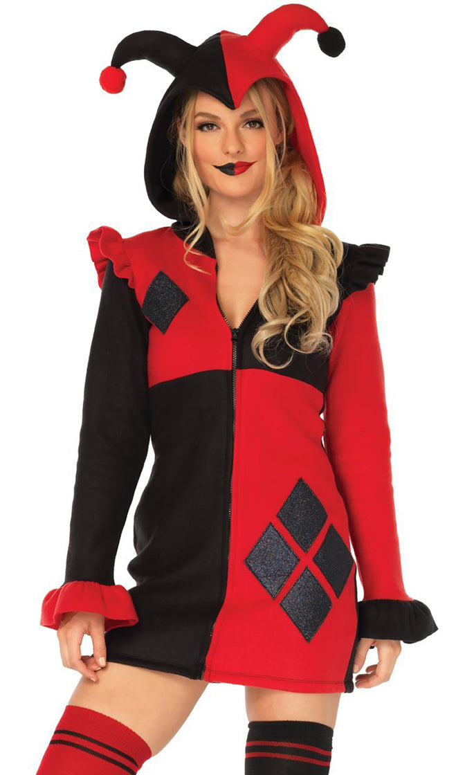 Harlequin Flirt Red Black Diamond Pattern Fleece Long Sleeve Hood Zip Front Bodycon Mini Dress Halloween Costume