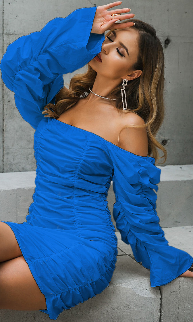Sweet Ideas Blue Long Sleeve Puff Neck Ruched Bodycon Mini Dress