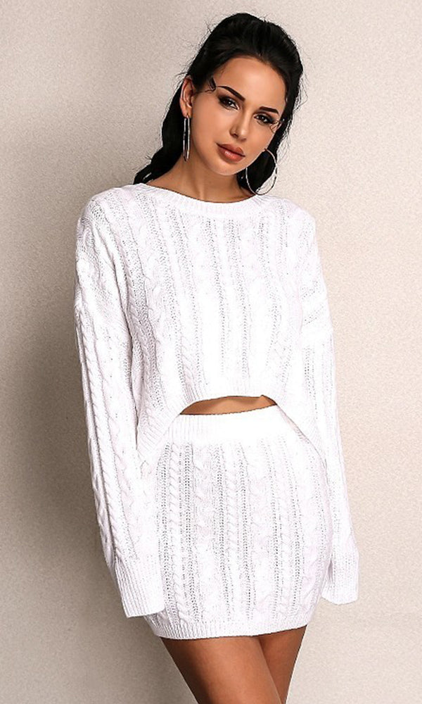 a687f76b3a1 Straight Up White Long Sleeve Cable Crew Neck High Low Pullover Sweater Two  Piece Casual Mini
