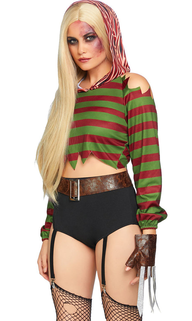 Causing Nightmares Green Maroon Horizontal Stripe Pattern Long Sleeve Cold Shoulder Hood Crop Top Bodycon Garter Short Two Piece Romper Halloween Costume
