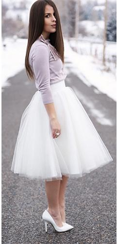 Center Stage 7 Layer White Tulle Chiffon Elastic Waist Pleated Circle A Line Flare Midi Skirt