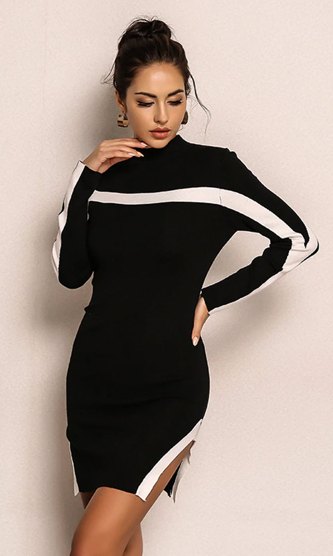 Free To Explore Black White Long Sleeve Horizontal Stripe Mock Neck Bodycon Casual Sweater Mini Dress