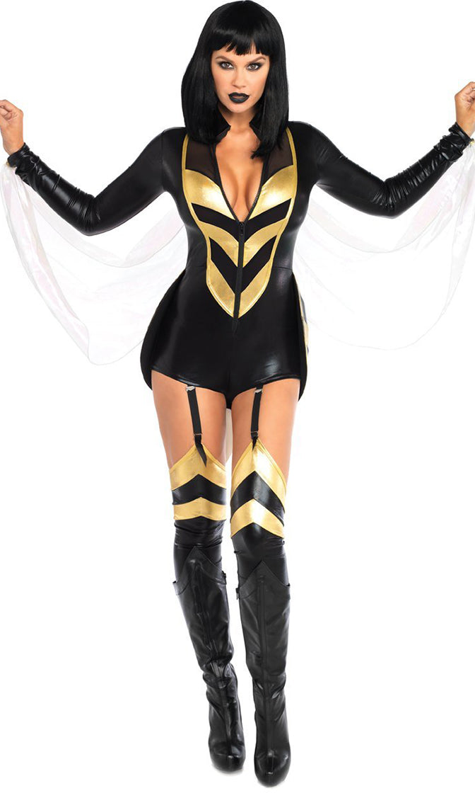 Honey Bee Black Gold Stripe Pattern Wet Look Long Sleeve Zipper Bodycon Romper Playsuit Halloween Costume