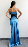 Bad For You Blue Satin Lace Sleeveless Spaghetti Strap Sweetheart High Slit Maxi Dress - Sold Out