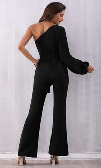 It's Your Turn Black Faux Suede One Long Lantern Sleeve Asymmetric Wide Leg Flare Jumpsuit - Sold Out