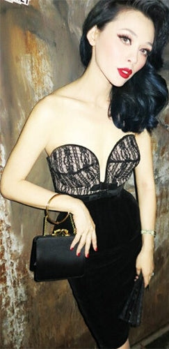 Not A Tease Black White Lace Strapless Plunge V Neck Bustier Bodycon Midi Dress - Sold Out