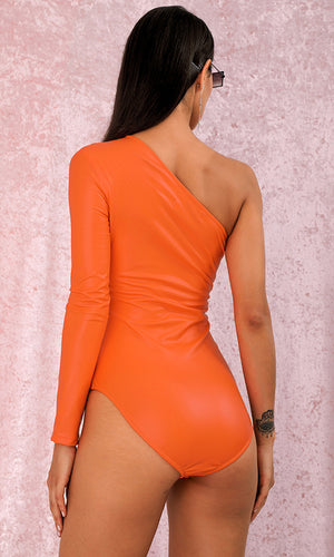 Basically Perfect Orange PU Long Sleeve One Shoulder Bodysuit Top