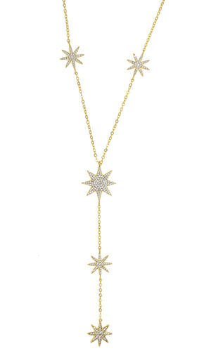 Wishing For Happiness Rhinestone Star Pendant Y Necklace - 3 Colors Available
