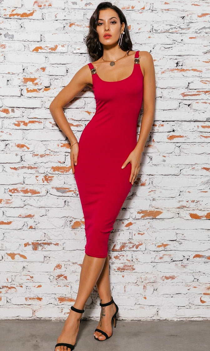 Lap Of Luxury Sleeveless Ribbed Scoop Neck Metal Trim Casual Bodycon Midi Dress - 3 Colors Available