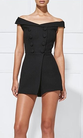 Team Player Black Short Sleeve Off The Shoulder Button Cross Wrap Playsuit Romper