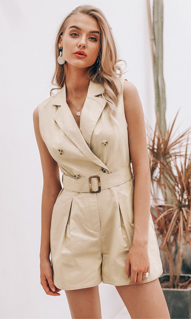 Girl Power Light Brown Sleeveless Double Breasted Button Belted Trench Coat Romper Playsuit