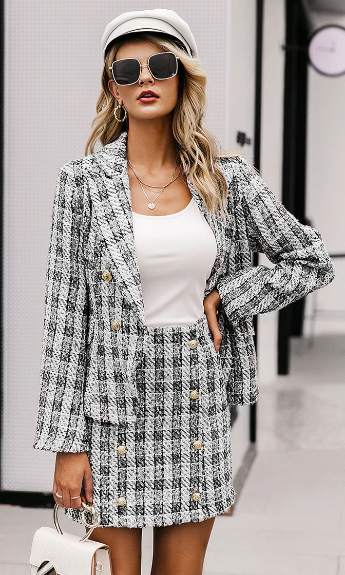 Ladies Rule White Black Tweed Plaid Pattern Long Sleeve Blazer Jacket Button Mini Skirt Two Piece Dress