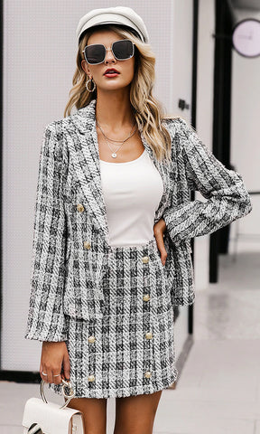 The Beat Goes On Black Red Tartan Plaid Pattern Long Sleeve Double Breast Button Blazer Mini Dress