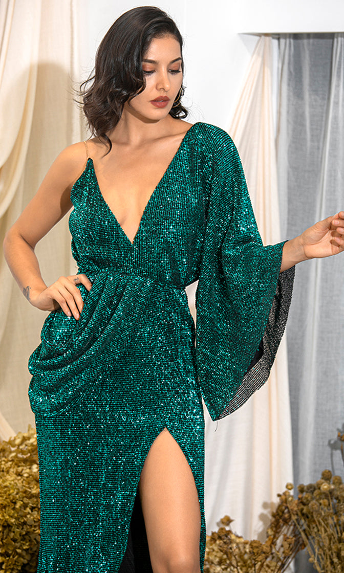 Kiss Me Now Emerald Green Sequin Asymmetric One Long Kimono Sleeve Drape Backless Cross Wrap V Neck Split Maxi Dress