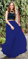 Princess For A Day Royal Blue 7 Layer Pleated Elastic Waist Swiss Tulle Ball Gown Maxi Skirt - Sold Out