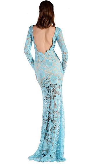 Midnight Mist Black Floral Lace Long Sleeve Scoop Neck Backless Bodycon Maxi Dress -  Sold Out