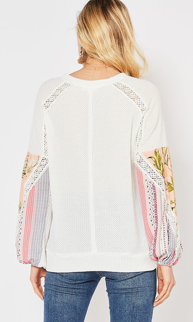 It's Your Loss White Waffle Knit Long Sleeve Scoop Neck Crochet Trim Floral Pattern Pullover Top - Sold Out