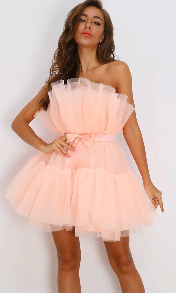 Birthday Girl Puffy Light Pink Strapless Satin Bow Elastic Belt Crinkled Micro Pleated Ruffle Tulle Poofy Skater Flare Mini Dress