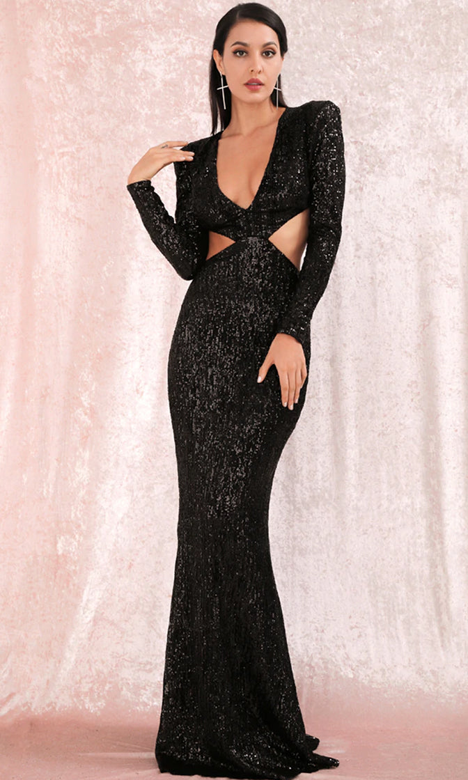 Starry Gaze Black Sequin Long Sleeve Plunge V Neck Cut Out Side Open Back Maxi Dress