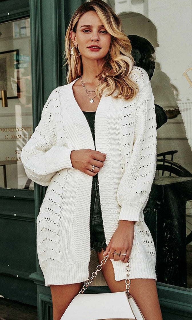 Warm And Cozy White Long Sleeve Mixed Stitch Open Front Cardigan Sweater