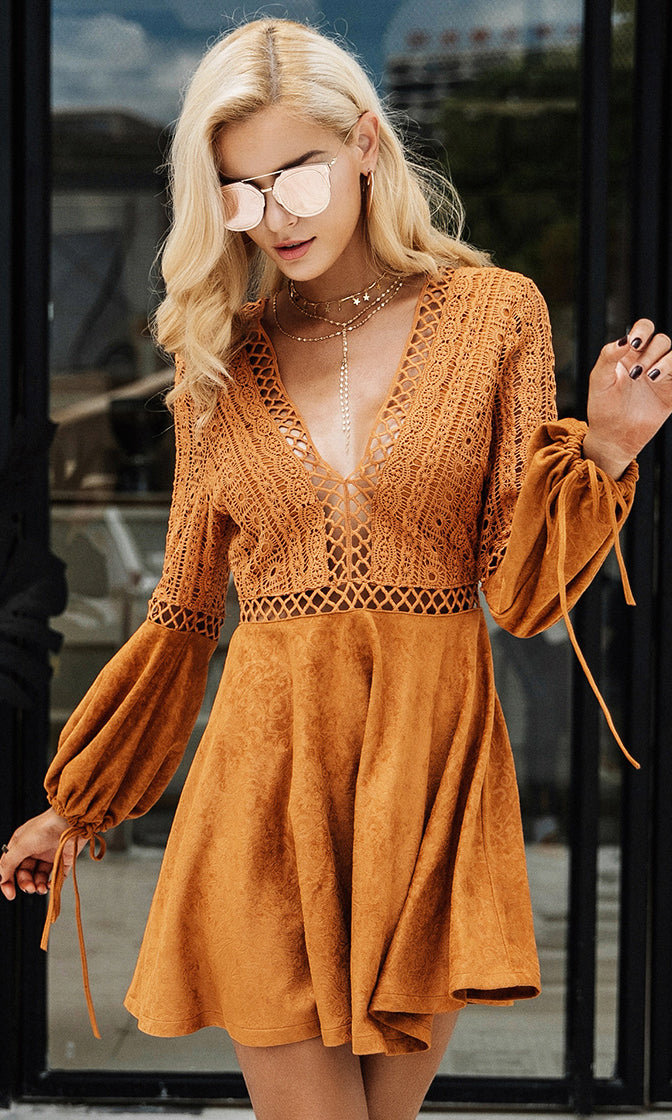 Embrace Adventure Tan Faux Suede Lace Long Bell Sleeve Plunge V Neck Skater Circle A Line Flare Mini Dress