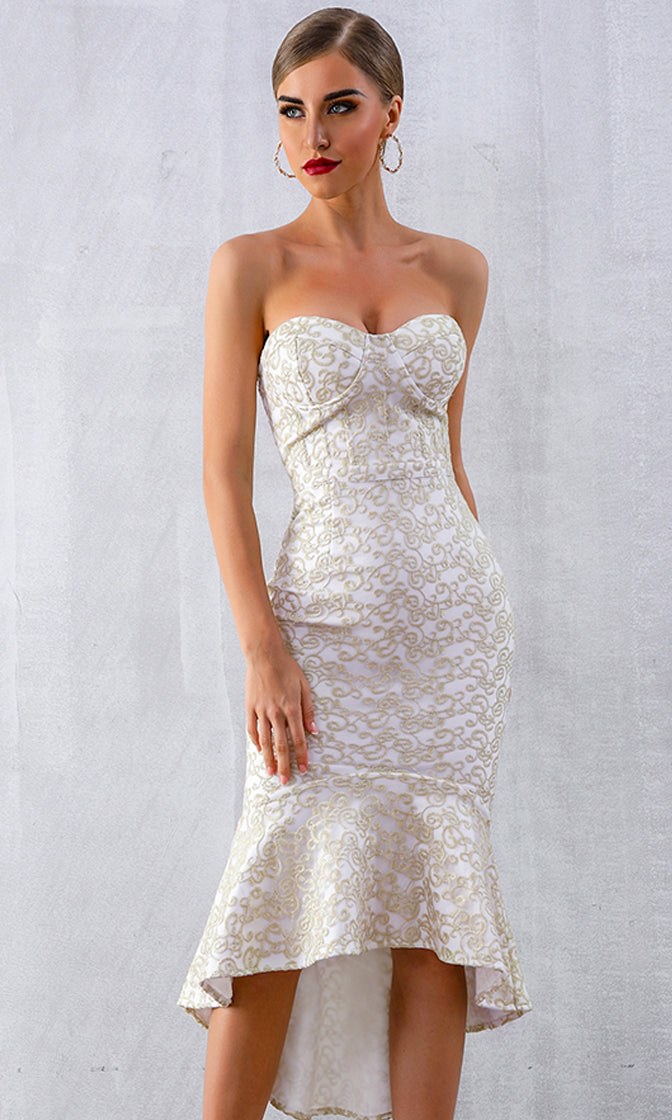 Real Life Mermaid Gold White Lace Pattern Strapless Sweetheart Bodycon Bandage High Low Mermaid Maxi Dress