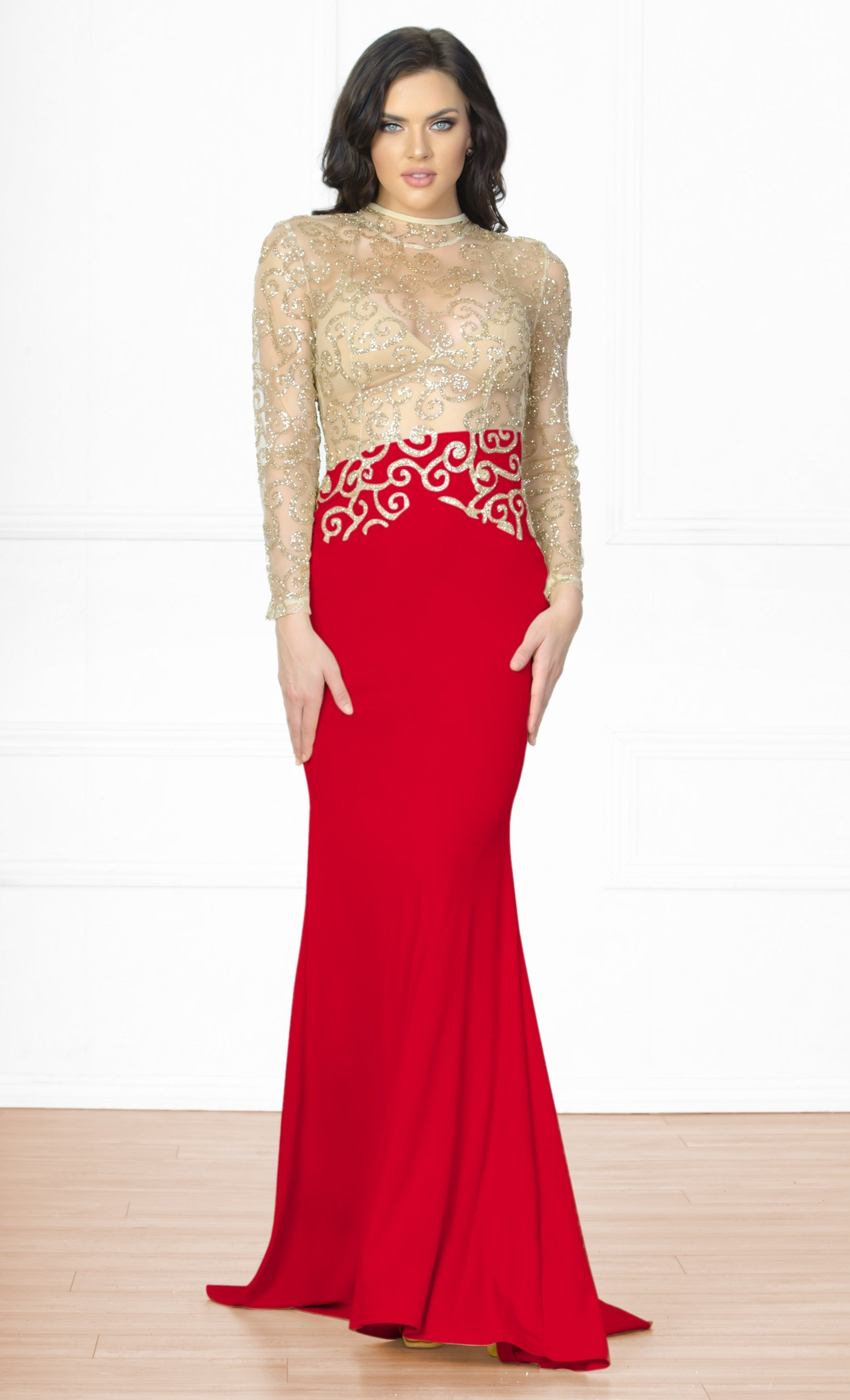 Indie XO Icon Status Red Gold Long Sleeve Sheer Glitter Mock Neck Open Back Maxi Dress Evening Gown