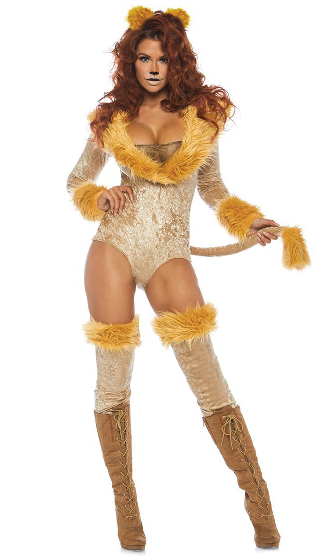 Fierce Lioness Beige Yellow Velvet Faux Fur Long Sleeve V Neck Bodysuit Halloween Costume