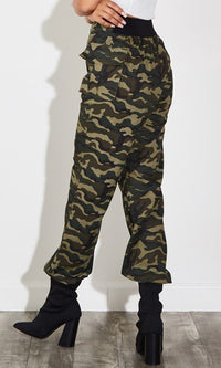 Ready For Battle Olive Green Camouflage Pattern Drawstring Cargo Pocket Loose Jogger Pants - Sold Out