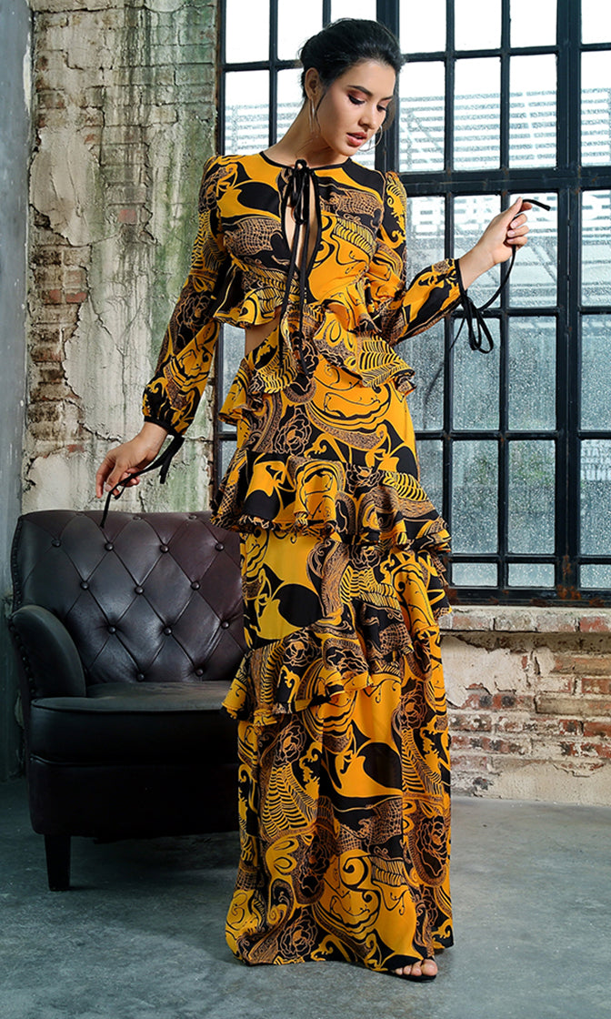 All In Stride Yellow Geometric Pattern Long Sleeve Tie Neck Keyhole Cut Out Backless Ruffle Maxi Dress