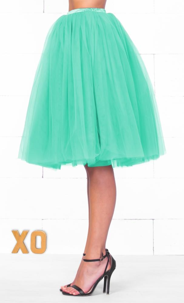 Indie XO 7 Layer On Pointe Mint Aqua Green Tulle Pleated Ballerina A Line Full Midi Skirt - Just Ours!