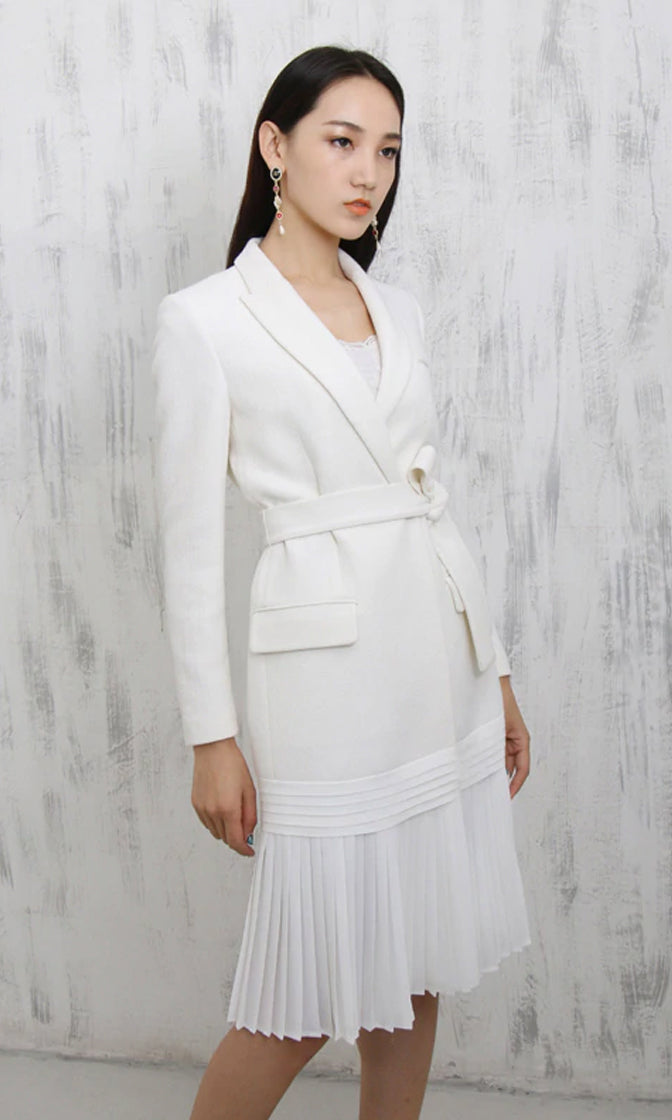 Find Me Here White Long Sleeve Wrap Waist Pleated Hem Coat Outerwear