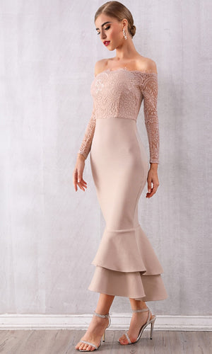 By Your Side Apricot Lace Long Sleeve Off The Shoulder Bodycon Bandage Ruffle Mermaid Maxi Dress