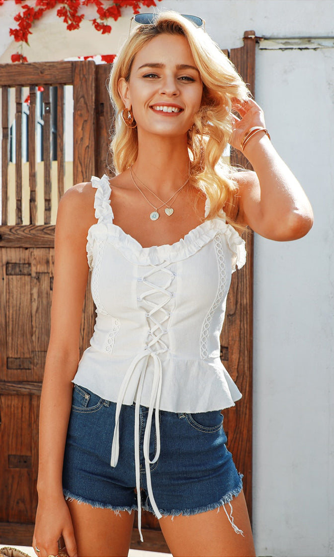 Promise Me White Sleeveless Ruffle Lace Up V Neck Smocked Back Peplum Tank Top