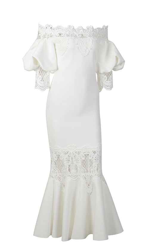 Get You Back White 3/4 Lantern Sleeve Lace Trim Off The Shoulder Fishtail Bodycon Midi Dress