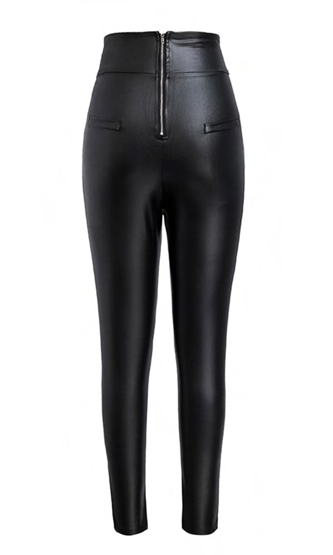 Faux Real Black Faux Leather PU High Waist Exposed Zipper Skinny Pants