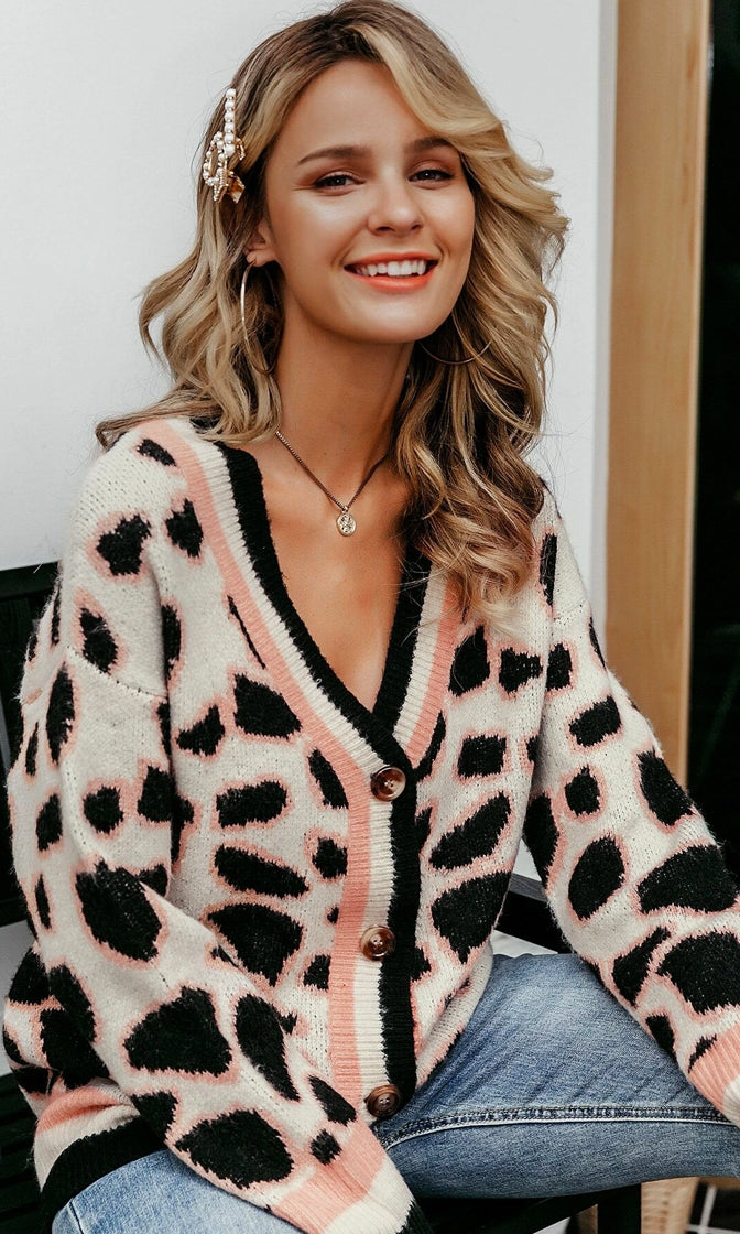 Keepin' It Chill White Black Peach Leopard Stripe Pattern Long Sleeve V Neck Button Cardigan Sweater