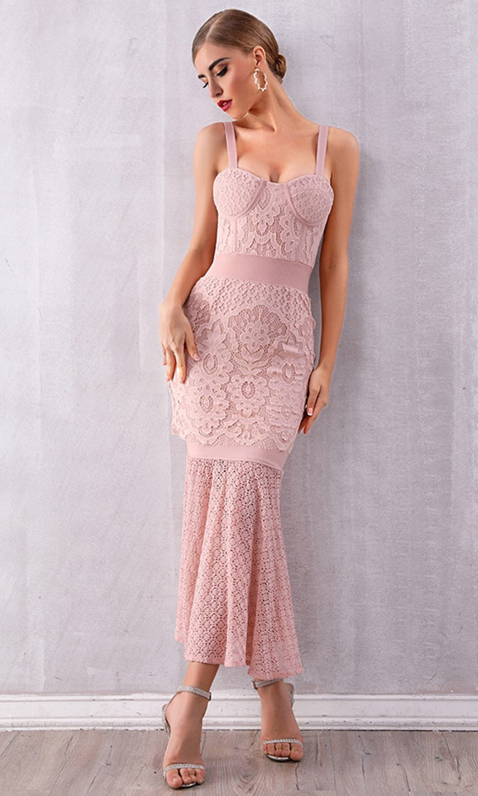 Romance Remains Light Pink Lace Sleeveless Bustier Trumpet Mermaid Bandage Bodycon Maxi Dress