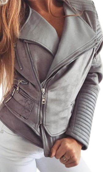 Coat Check Faux Leather Suede Long Sleeve Asymmetric Zip Buckle Motorcycle Jacket - 7 Colors Available