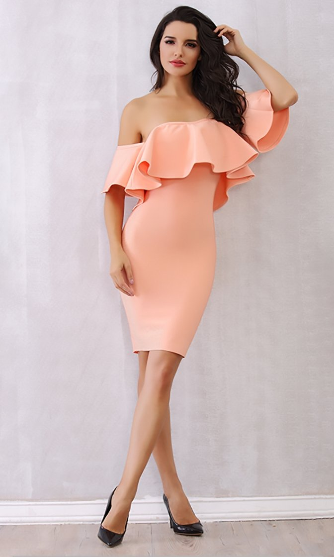 Cream Puff Pink Ruffle Short Sleeve Off The Shoulder Bodycon Bandage Mini Dress