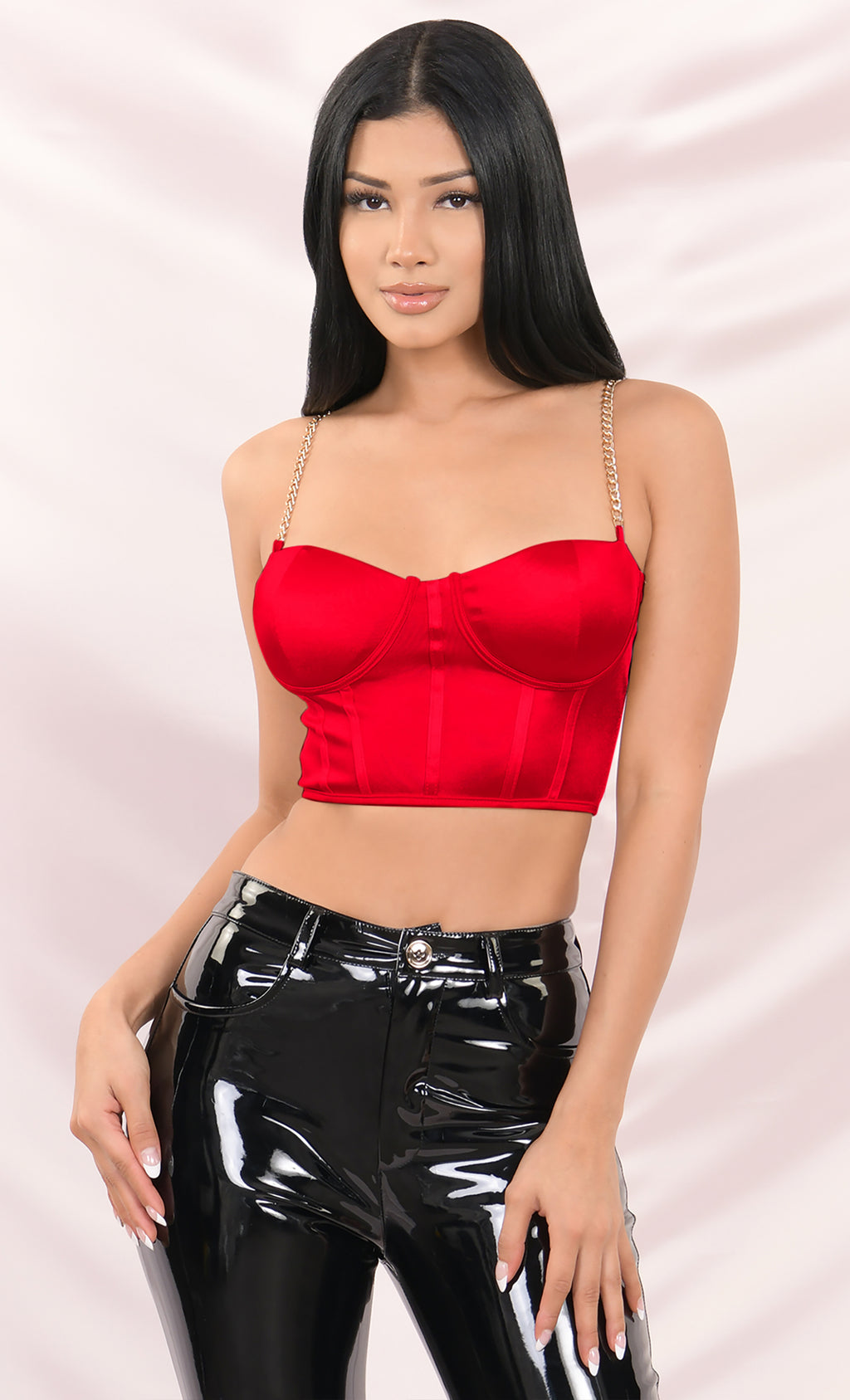 Take It Off Red Satin Sleeveless Chain Strap Padded Bustier Crop Tank Top - 2 Colors Available
