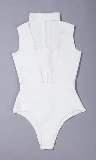 Joy Ride White Sleeveless Cut Out Mock Neck Bandage Bodysuit Top