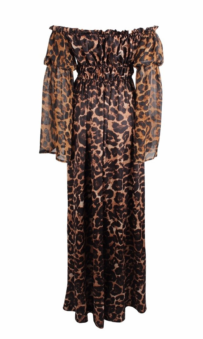 Cat Call Brown Leopard Long Flare Sleeve Off The Shoulder Cinch Waist Maxi Casual Dress