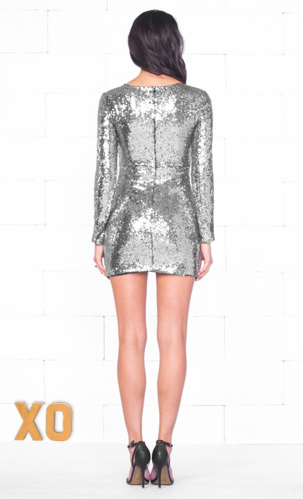 Indie XO Glitz & Glam Silver Sequin Long Sleeve Cross Wrap V Neck Tulip Mini Dress - Just Ours!