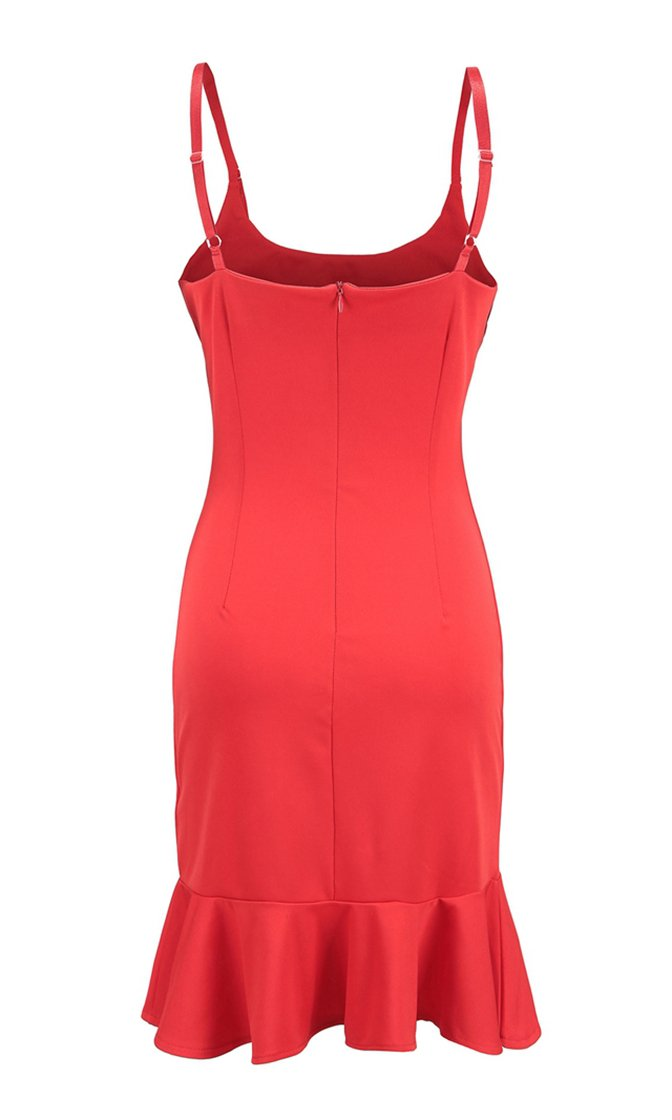 In My Prime Sleeveless Square Neck Bodycon Ruffle Bodycon Mini Dress - 2 Colors Available