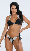 Indie XO Diamond Beach Black Rhinestone Crystal Triangle Top Tie Side Bikini Two Piece Swimsuit