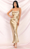 Acceptance Speech Gold Satin Loose Slip Sleeveless Spaghetti Strap Drape Cowl Neck Cut Out Back Maxi Dress