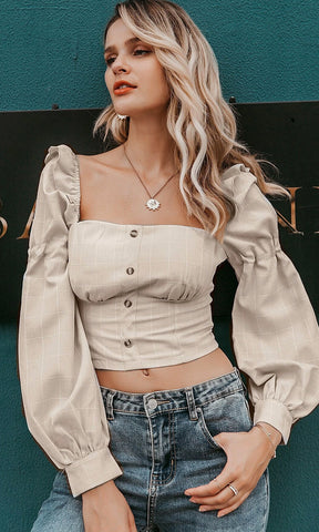 There Goes My Baby White Black Plaid Pattern Off The Shoulder 3/4 Length Bell Sleeve Ruffle Crop Top Blouse